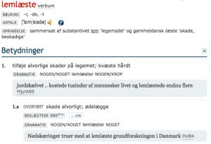Lemlæstelse: Den Danske Ordbog