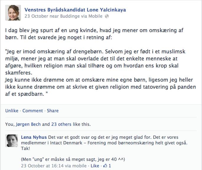 Lon Yalcinkaya på Facebook om omskæring