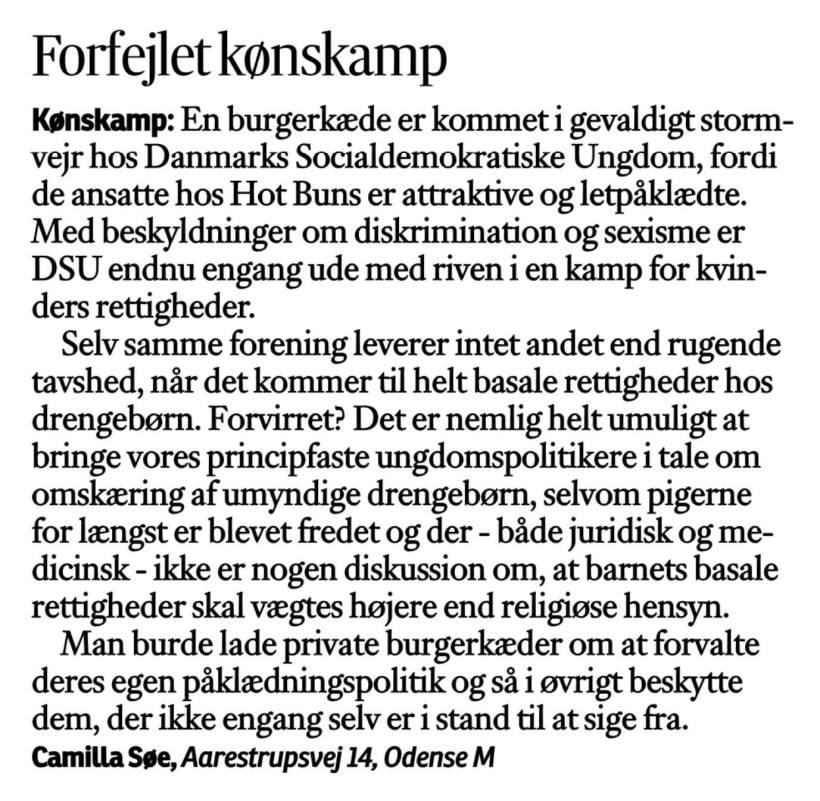 Læserbrev Camilla Søe omskæring