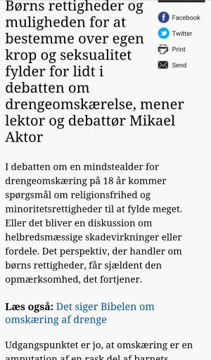 Mikael Aktor - Omskæringsdebat - Fokus på barnets rettigheder - Omskæring